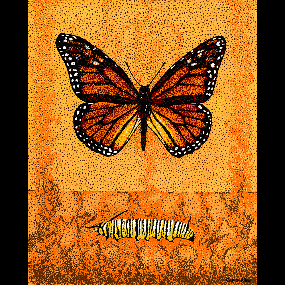 "Monarch & Caterpillar - 24"" x 30"" Acrylic on Canvas 2009"