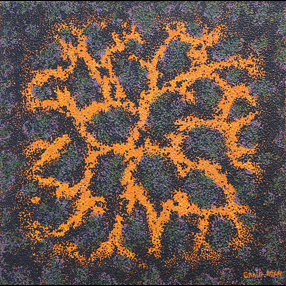 "Orange Crush; Virus & Mutation - 24"" x 24"" Acrylic, Textural Medium on Canvas 2008"