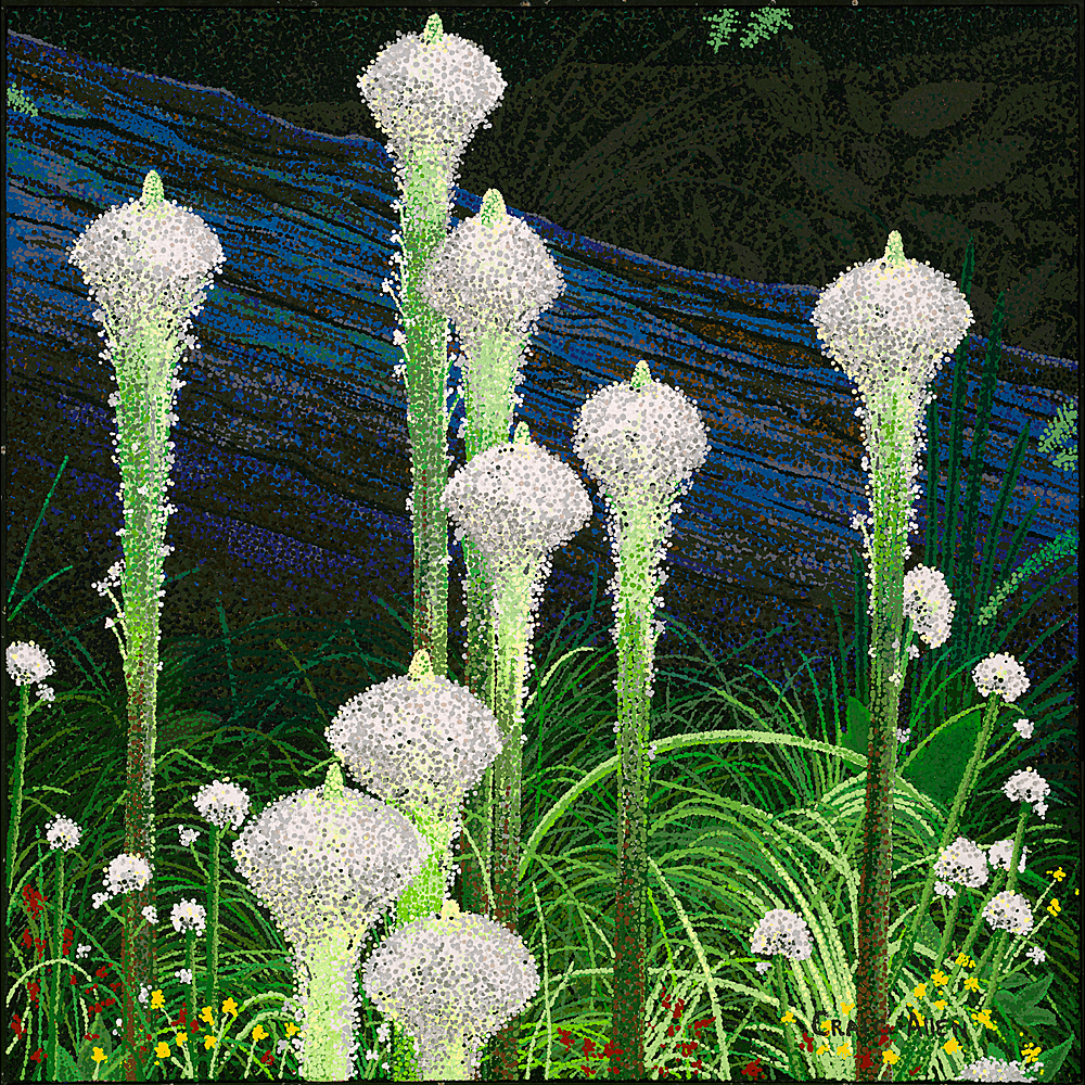"Blue Log BearGrass - 24"" x 24"" Acrylic on Canvas"