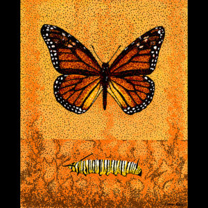"Monarch & Caterpillar - 24"" x 30"" Acrylic on Canvas 2009"